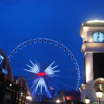 """Bangkok has a big new shopping market called """"Asiatique"""" beside the Chao Phraya River. Pa Aoun took us there and we rode the ferris wheel up to get a sunset view of the city."""